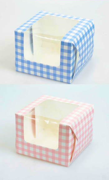 Single Gingham Cupcake Boxes