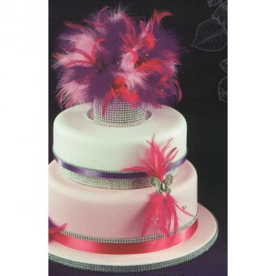 Wedding Cake Decorated with Diamante Feathers