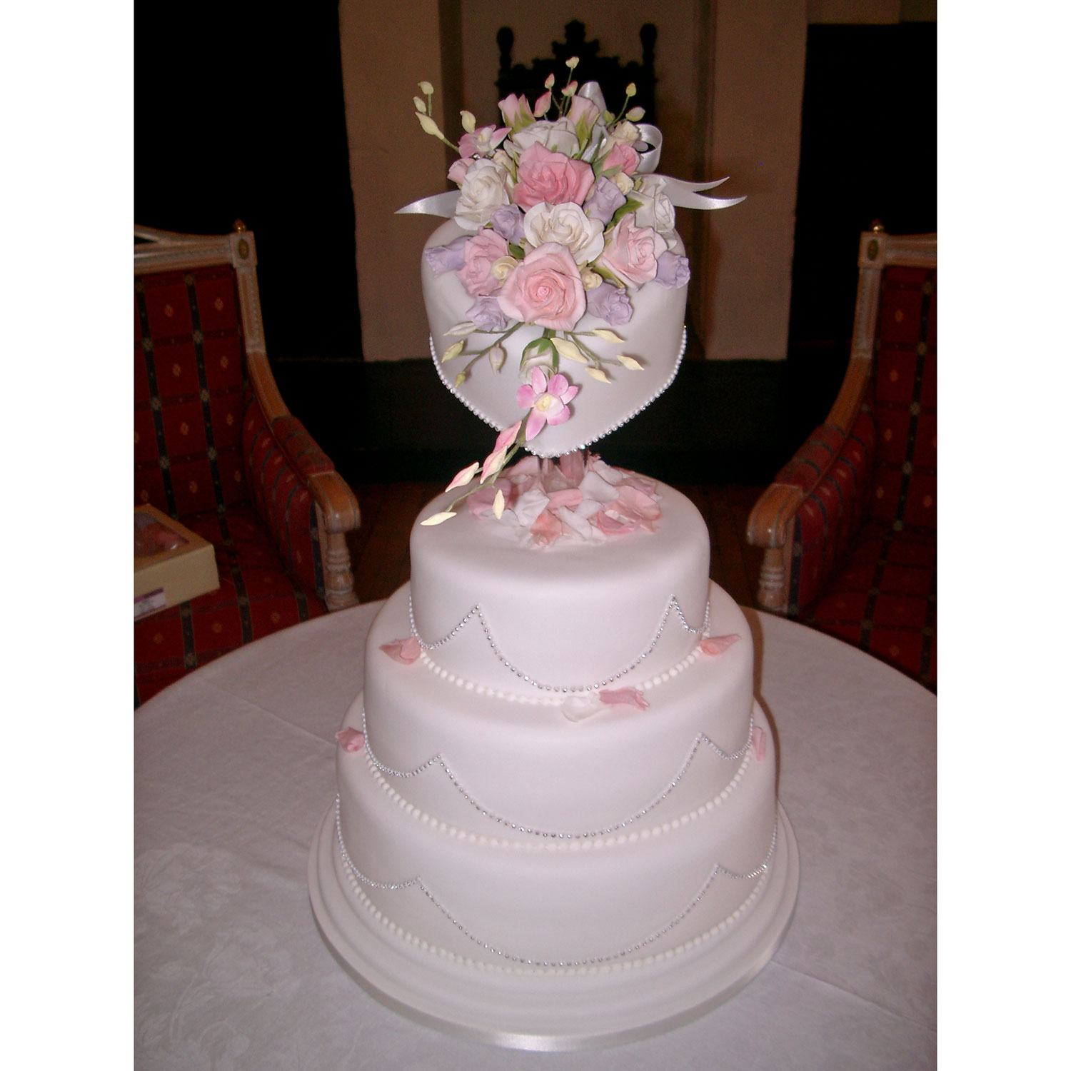 Diamante Heart Wedding Cake