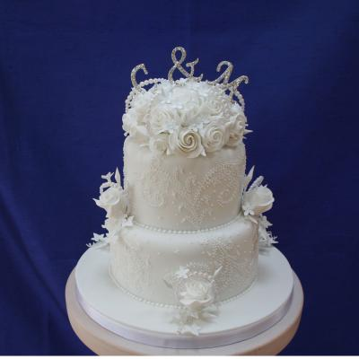 Two Tier Pearl Cake with Detailed Icing Embroidery