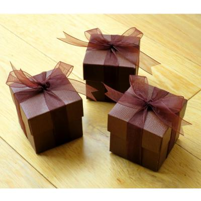 Brown Silk Wedding Favour Box