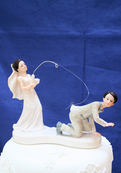 Bride Fishing Wedding Cake Topper