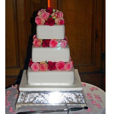 Wedding Cake decorated with Fresh Summer Roses