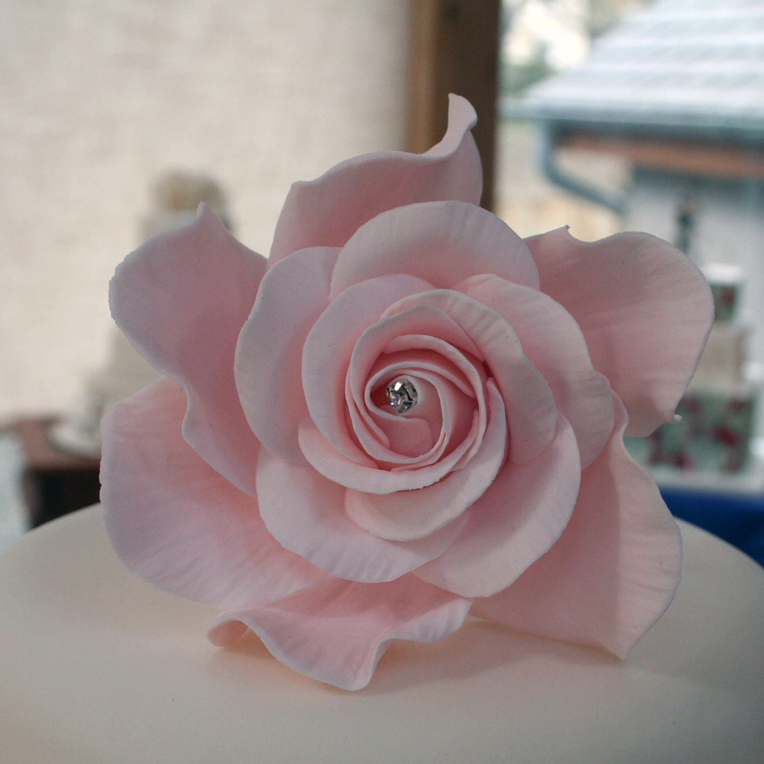 Giant Diamante Pink Sugar Rose Handcrafted Sugar Rose Cake Toppers