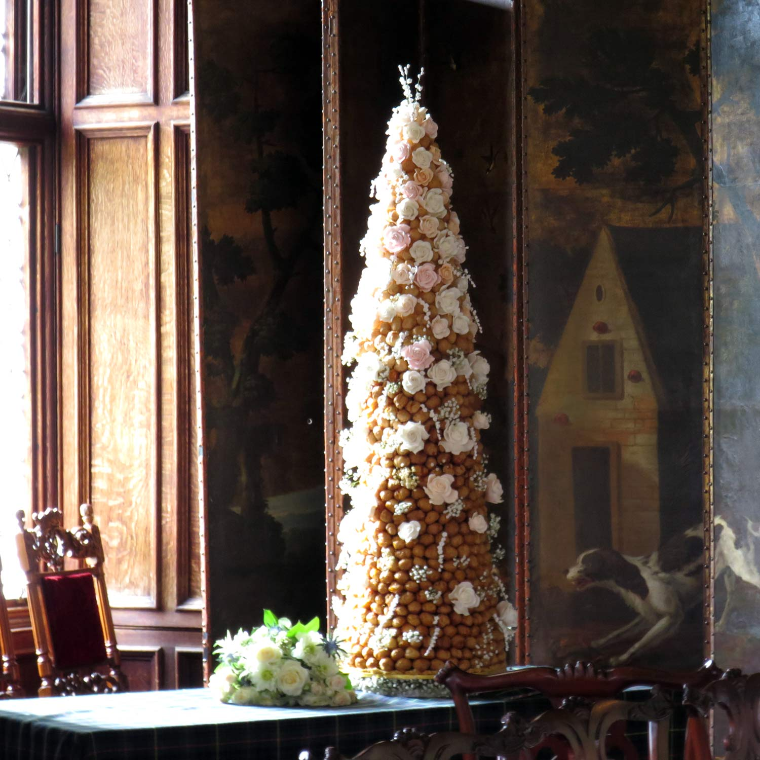 Croquembouche Decorated with Handcrafted Sugar Flowers