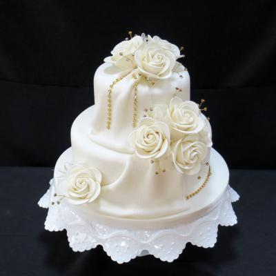 Gold Diamante Drape Wedding Cake