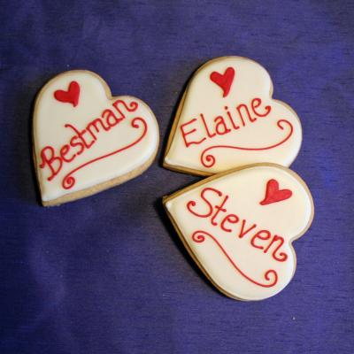 Heart Shaped Place Name Wedding Cookies