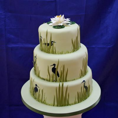 Heron Themed Wedding Cake