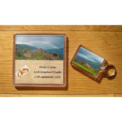 Personalised Keyring and Coaster Wedding Favours