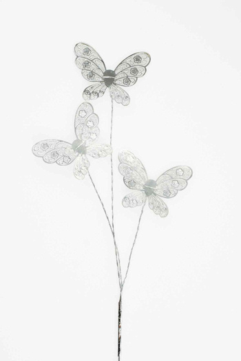 Silver Lace Effect Butterfly Cake Topper
