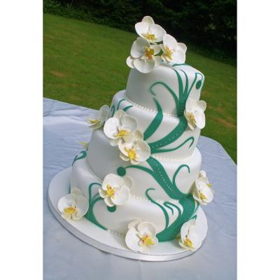 Vine Design Wedding Cake with Sugar Orchids