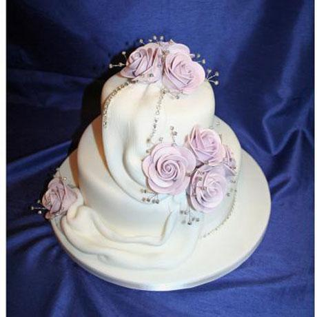Lilac Diamante Drape Wedding Cake
