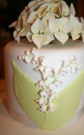 Top tier with Sugarcraft Hydrangeas