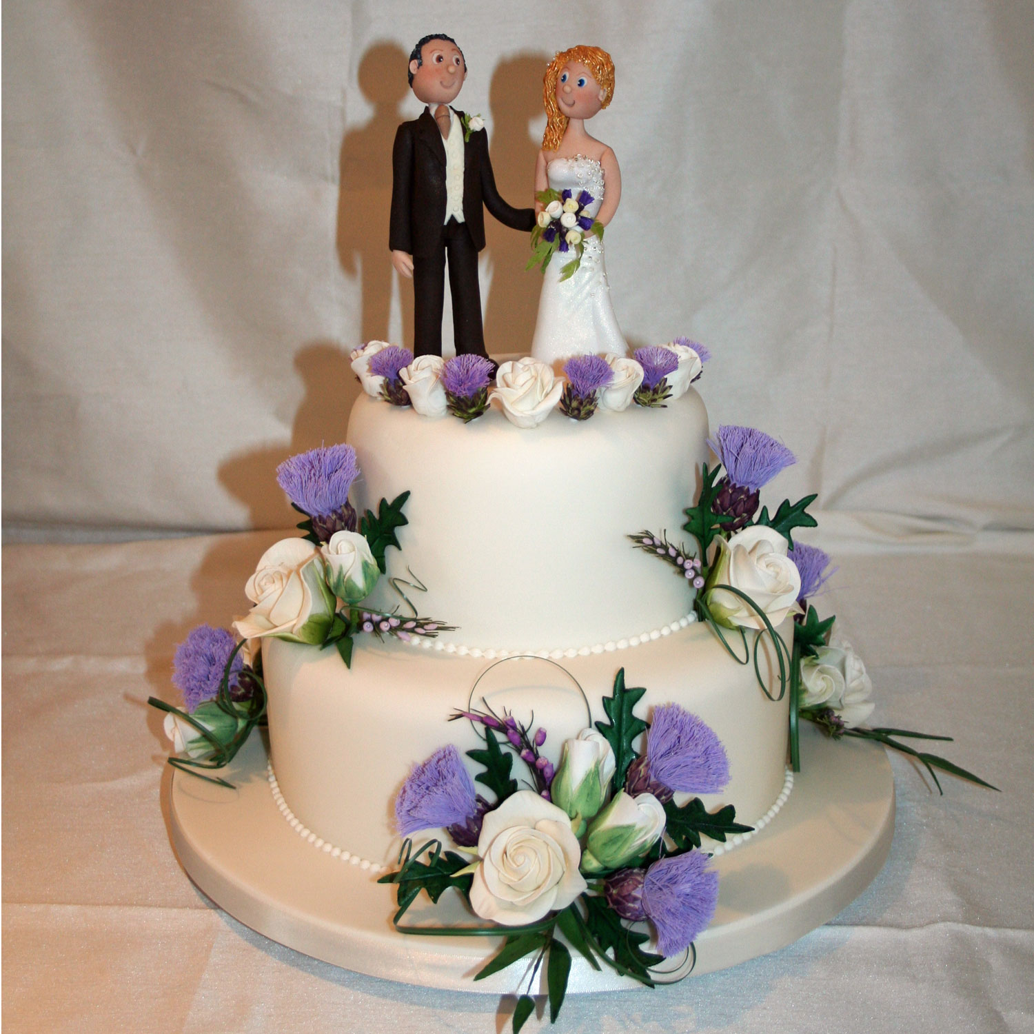 Wedding Cake with Personalised Bride and Groom Cake Topper