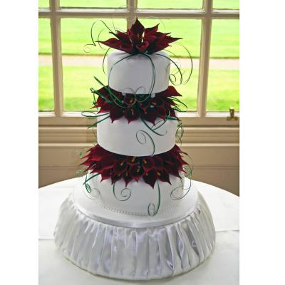 Burgundy Calla Lilies Wedding Cake