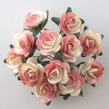 Ivory Peach Wedding Favour Roses