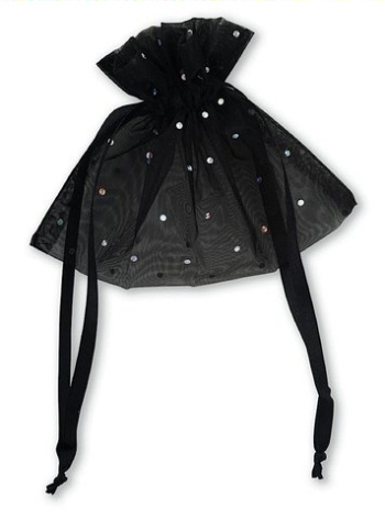 Black Organza Glitter Favour Bag