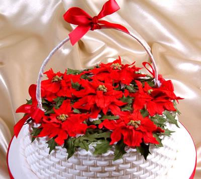 Christmas Cake Decorations Poinsettia