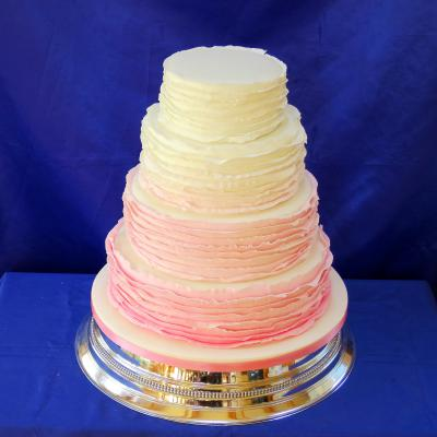 Four tier Wedding Cake decorated with graduated shades of icing.