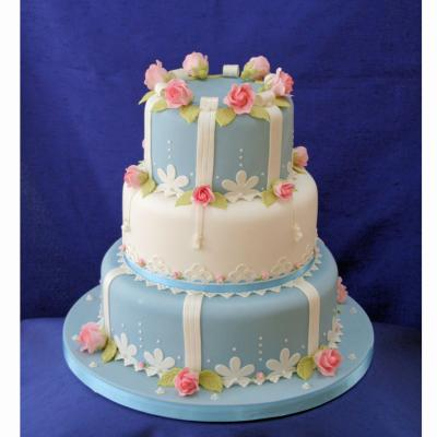 Pink Perfection And Wedgewood Blue Wedding Cake Design