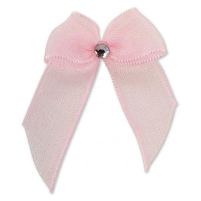 Pink Self-Adhesive Diamante Bows