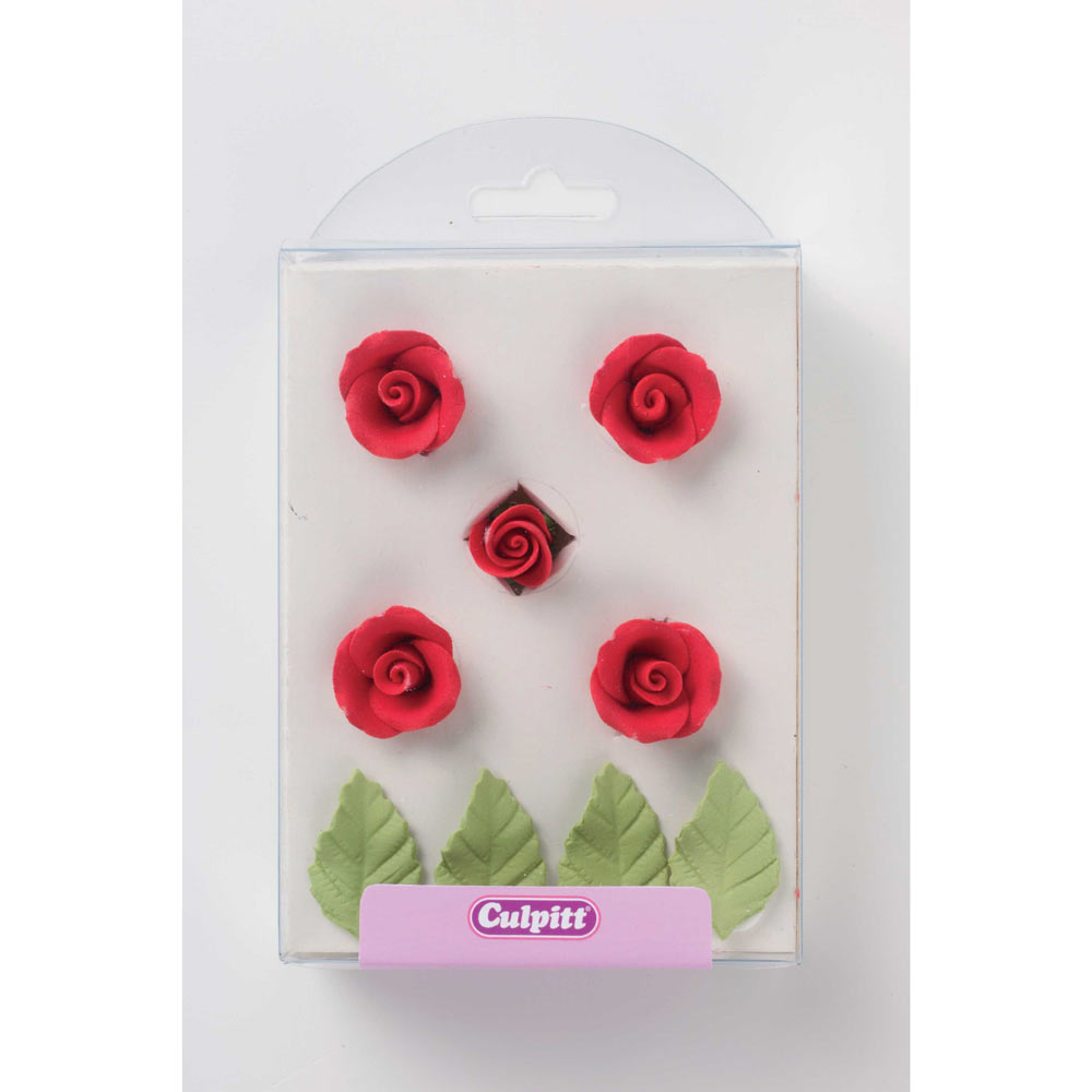 Red Rose and Leaf Cake Decorations