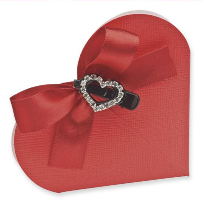 Red Silk Heart Wedding Favour Boxes