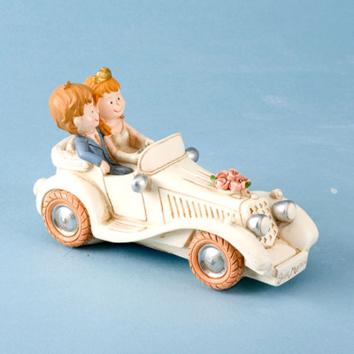 Bride and Groom in a Car Cake Topper