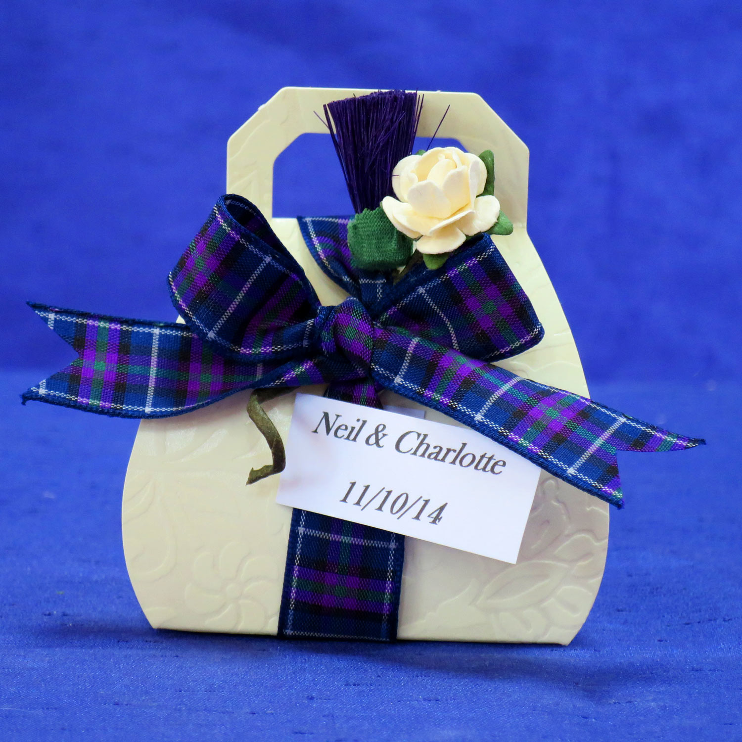 Scottish Thistle and Rose Handbag Wedding Favour