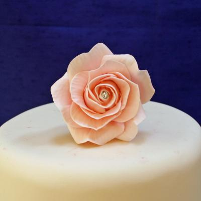 Large Diamante Pink Sugar Rose