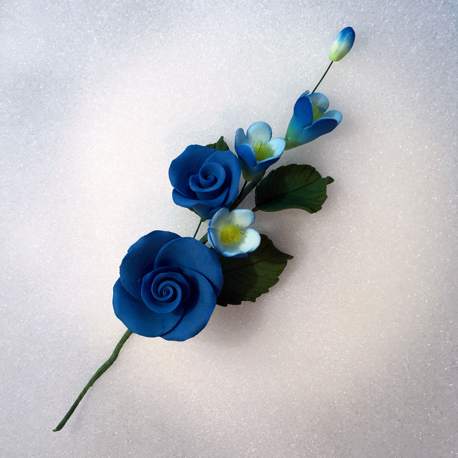 Royal Blue Rose and Apple Blossom Spray