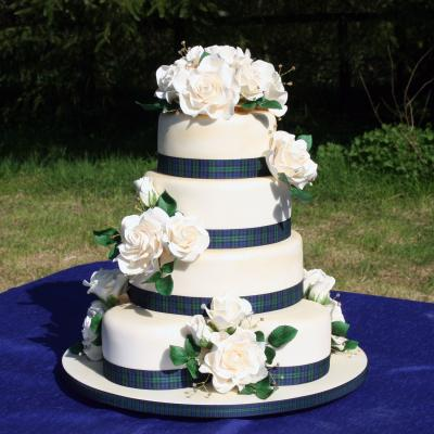 Wedding Cake with Black Watch Ribbon Trim