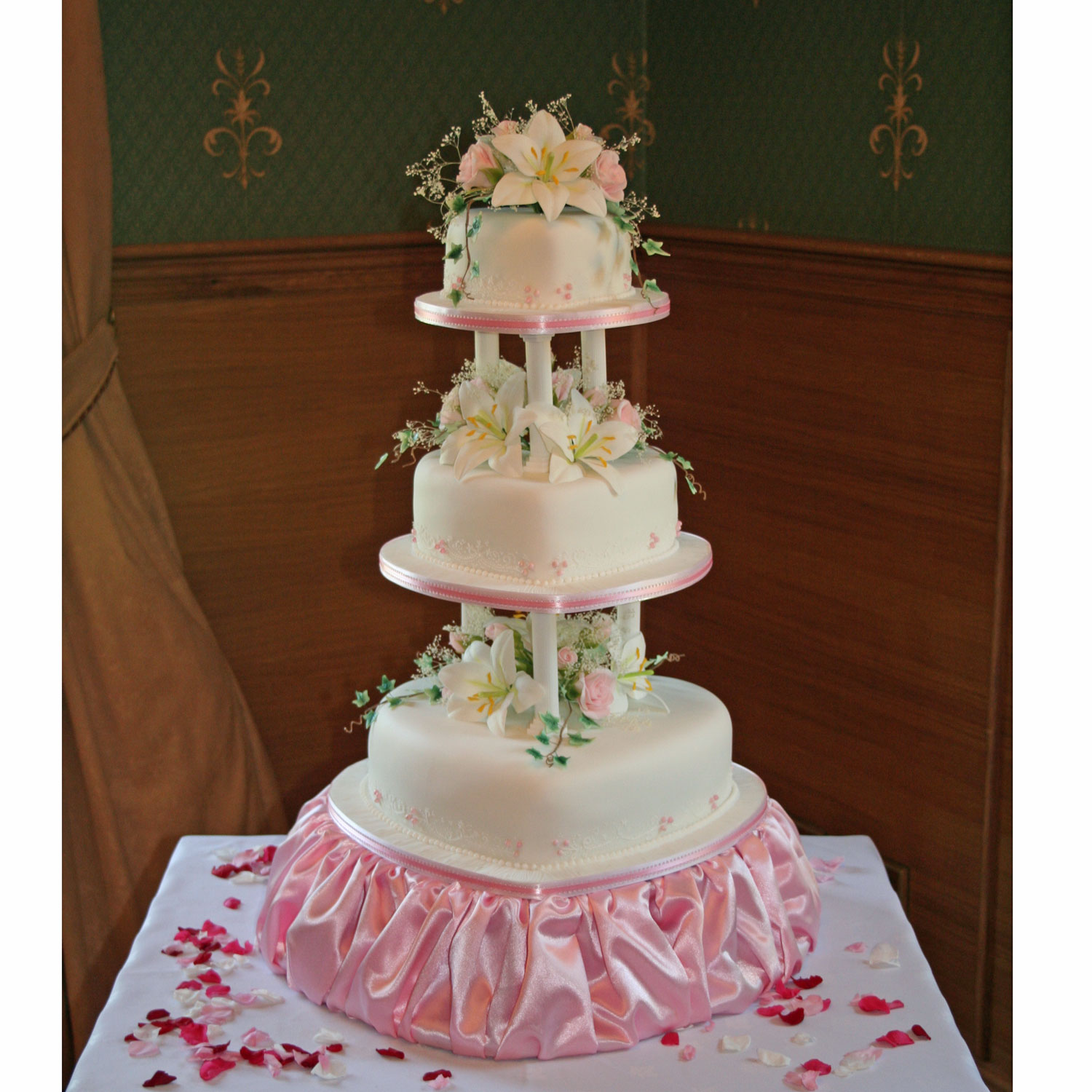 Sam Wedding Cake.Sam Love Heart Shaped Wedding Cake Tiers With Hand Made Flowers