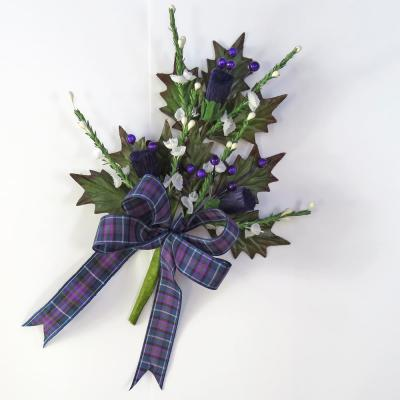 Silk Thistle Cake Topper with Scottish Pride Ribbon