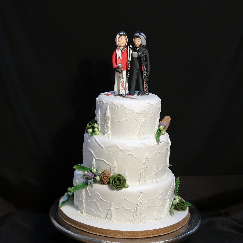 Skiing Themed Wedding Cake