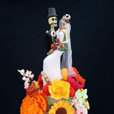 Bride and Groom Skeleton Cake Topper