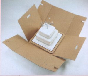 stacked cake box folds down for easy removal of your cake