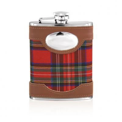 Stainless Steel Red Tartan Hip Flask