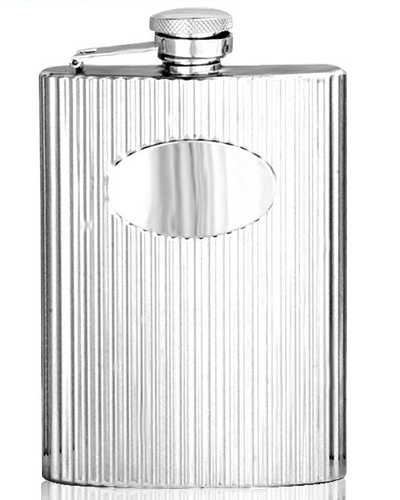 Stainless Steel Ribbed Hip Flask