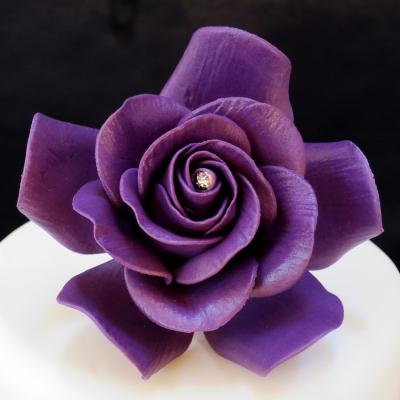 Purple Sugar Rose Cake Decorations