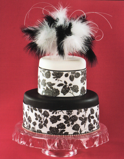 Black and White Feather Cake Topper