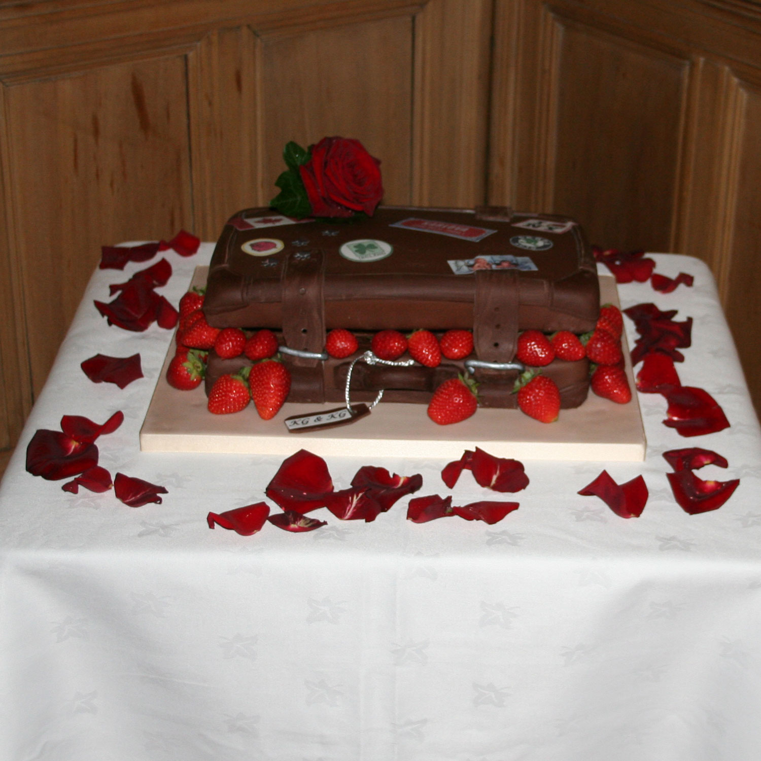 Chocolate Suitcase Wedding Cake