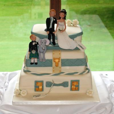 3 tier Wedding Suitcases in Teal Theme