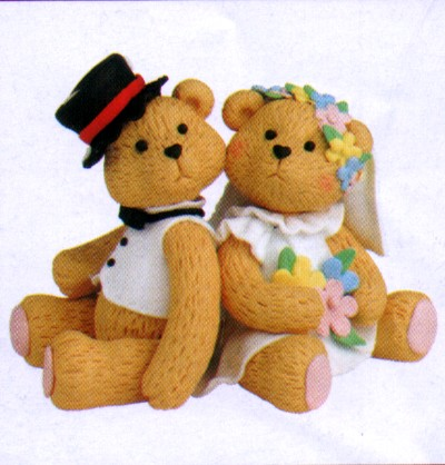 Teddy Bears Bear Sitting Claydough Bride And Groom