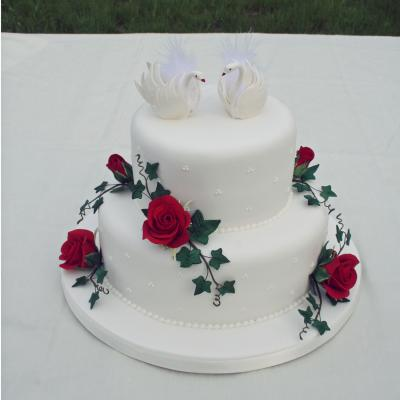 Wedding Cake with Swan Cake Toppers