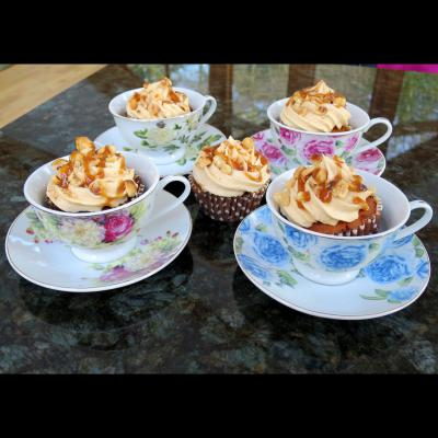 Sticky Toffee Cupcakes in Vintage Cups and Saucers