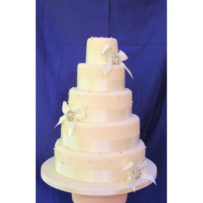 Wedding Cake with Diamante Broches and Bows