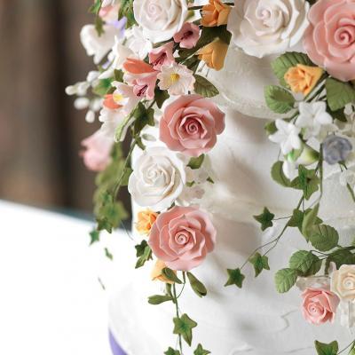 Cherry Blossom Spray Sugarcraft Sprays Wired Into A Beauitful Wedding Cake Topper