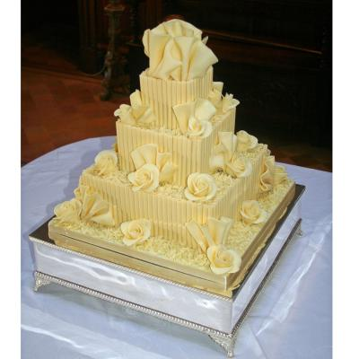 White Belgian Chocolate Cigarillo Wedding Cake
