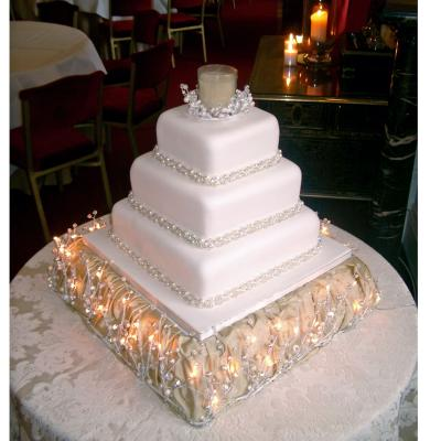 Winter Wedding Cake on an Illuminated Cake Stand